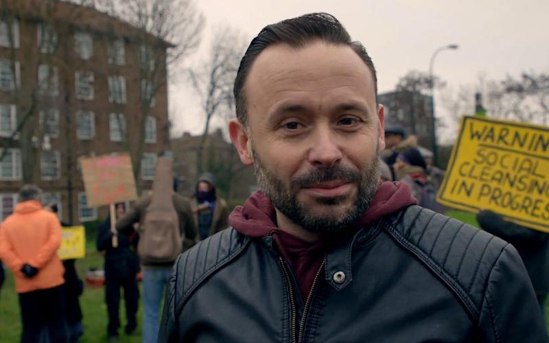 Comedian Geoff Norcott at a protest - BBC