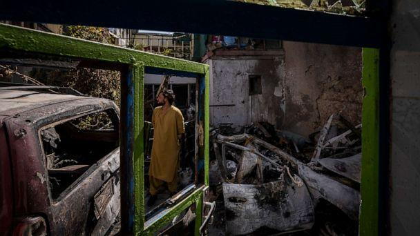 PHOTO: An Afghan inspects the damage of Ahmadi family house in Kabul, Afghanistan, Monday, Sept. 13, 2021. (Bernat Armangue/AP, FILE)
