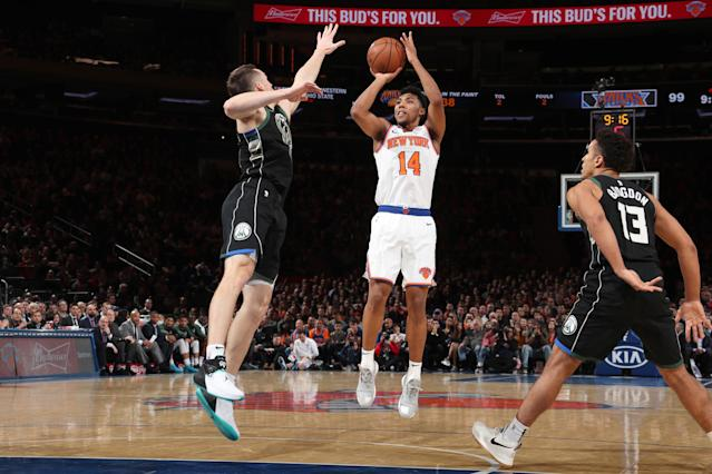 NEW YORK, NY - DECEMBER 1: Allonzo Trier #14 of the New York Knicks shoots the ball against the Milwaukee Bucks on December 1, 2018 at Madison Square Garden in New York City, New York. (Photo by Nathaniel S. Butler/NBAE via Getty Images)