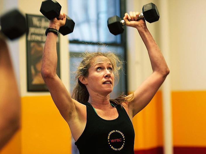 """Laura Hoggins recommends dumbbells because you can do """"almost anything"""" with them."""