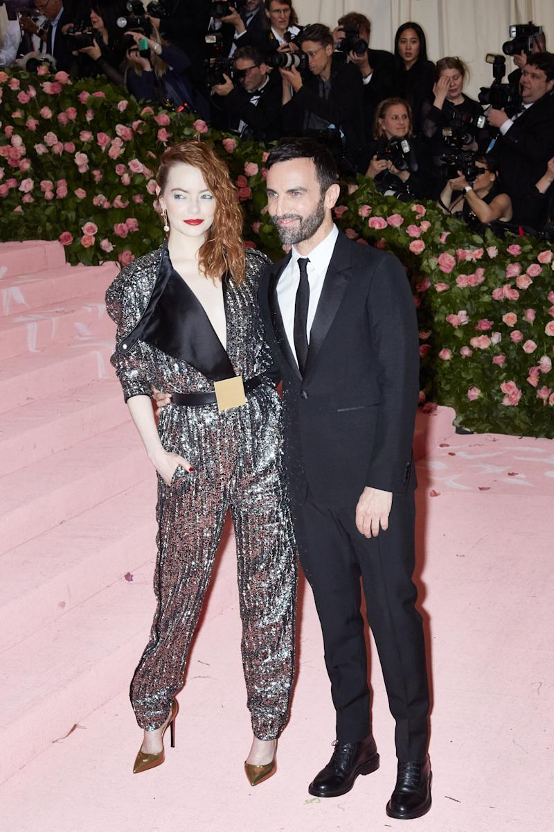 Emma Stone and Nicolas Ghesquière on the red carpet at the Met Gala in New York City on Monday, May 6th, 2019. Photograph by Amy Lombard for W Magazine.