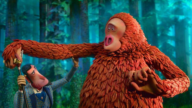 Frost gets the measure of Mr. Link in <i>Missing Link</i> (Lionsgate)