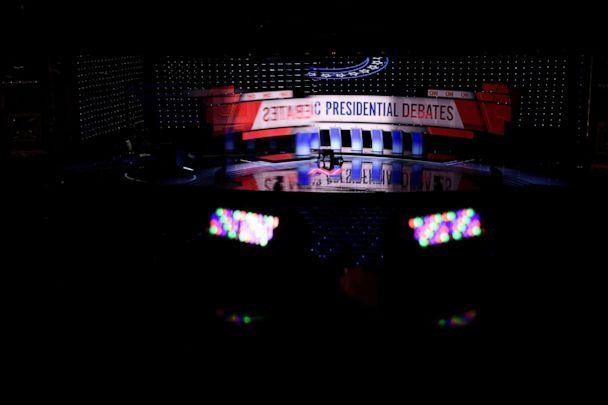 PHOTO: The debate stage at the Fox Theater in Detroit, Mich., July 30, 2019, ahead of the 2nd Democratic Presidential Debate. (Brendan Smialowski/AFP/Getty Images)