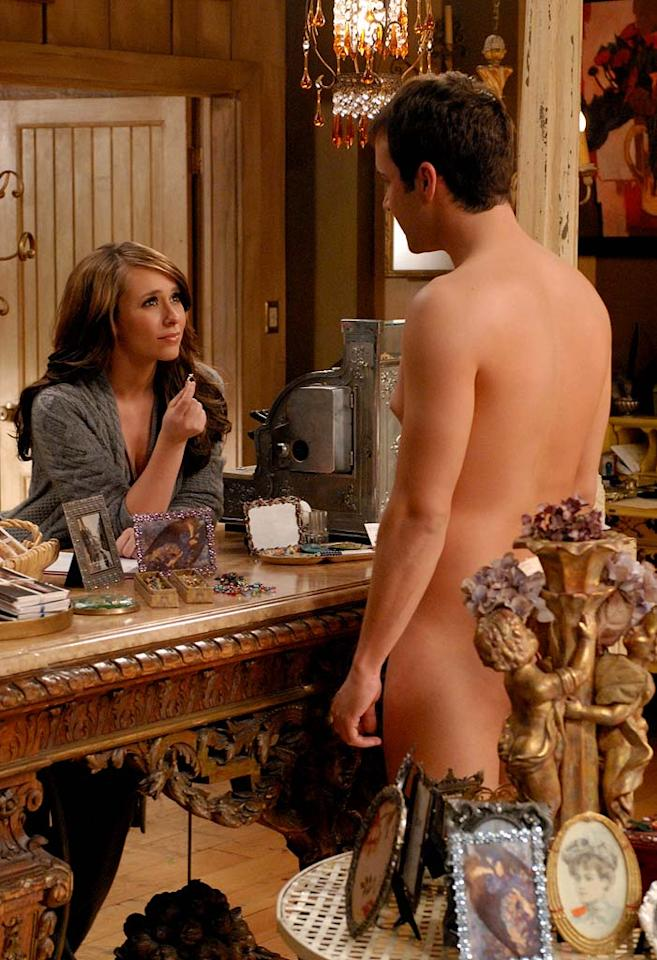 After witnessing the spirit of Delia's husband sabotaging Delia's date, Melinda (Jennifer Love Hewitt) puts their friendship to the test and reveals her unique ability, on Ghost Whisperer.  In the midst of all of this, Melinda has an awkward encounter with another spirit (Gil McKinney) who happens to be naked and is seeking her help. Photo: Michael Yarish/CBS ©2007 CBS Broadcasting Inc.  All Rights Reserved.