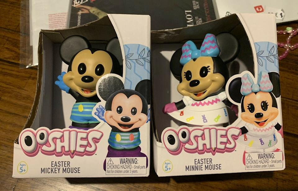 Image of Mickie and Minnie Mouse Easter Disney Ooshie collectibles from Woolworths sold online at markup