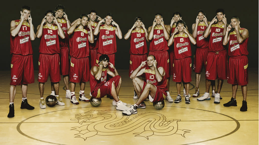 This undated photo provided by Seur taken in Madrid shows Spain's Olympic men's basketball team making slant-eyed gestures while posing for an Olympics publicity photo. The photo was originally part of a publicity campaign for team sponsor Seur and is being used solely in Spain. (AP Photo/Seur)  ** AP provides access to this publicly distributed handout photo. The copyright is owned by a third party**
