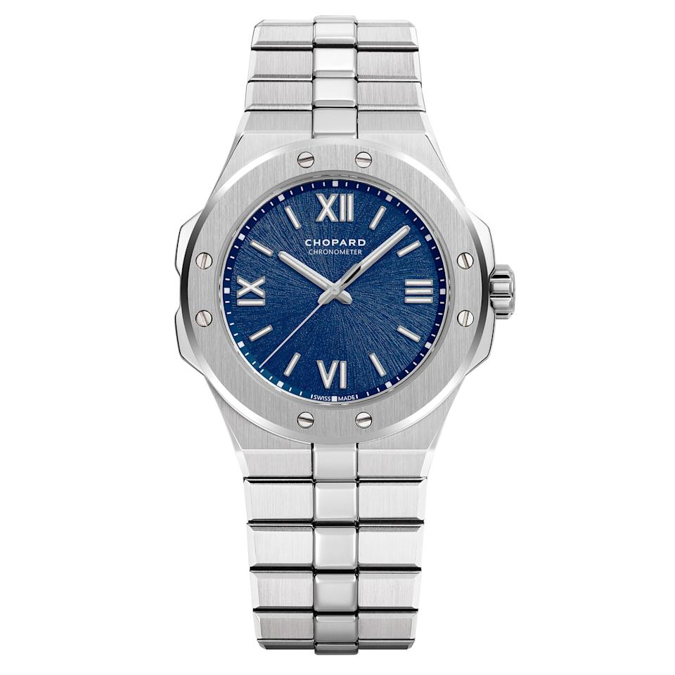 "<p>Part of Chopard's latest launch, this collection designed by Karl Friedrich-Scheufele is inspired by the first watch that he created in 1980.</p> <p><strong>Buy now:</strong> Chopard, Alpine Eagle steel timepiece, $10,100, <a href=""https://www.chopard.com/us/watches/ladies-watches/alpine-eagle/alpine-eagle-small-298601-3001"">chopard.com</a>.</p>"