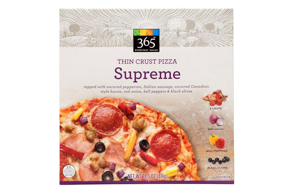 """<p>Like its pepperoni counterpart, this Whole Foods supreme was not a stunner. According to one taster, the toppings were nice and fresh, but the pie as a whole needed more flavor. """"It's nothing to write home about,"""" another said. It's OK though, 'cause <a href=""""https://www.delish.com/food/g22559891/things-to-buy-at-whole-foods/"""" rel=""""nofollow noopener"""" target=""""_blank"""" data-ylk=""""slk:Whole Foods shouldn't be your go-to stop for pizza anyway"""" class=""""link rapid-noclick-resp"""">Whole Foods shouldn't be your go-to stop for pizza anyway</a>. </p>"""