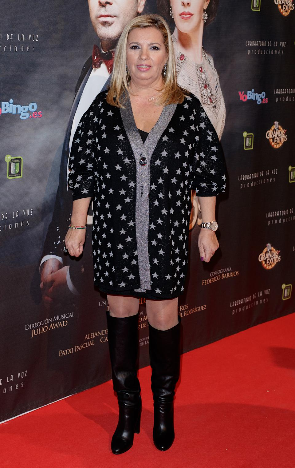MADRID, SPAIN - JANUARY 15:  Carmen Borrego attends the 'Grandes Exitos' theatre play premiere at Rialto Theatre on January 15, 2018 in Madrid, Spain.  (Photo by Eduardo Parra/Getty Images)