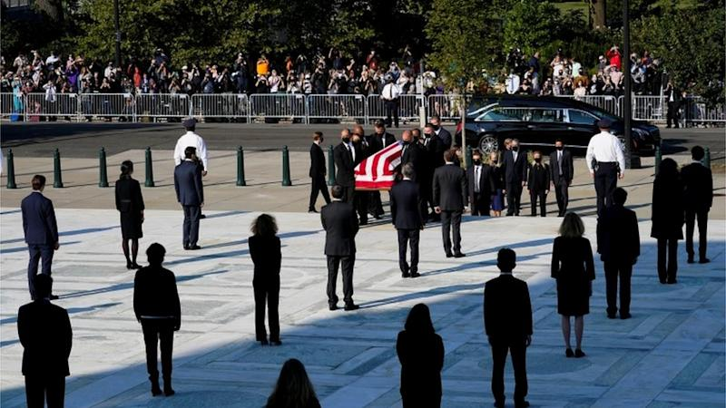 Ginsburg's casket arrives at the Supreme Court