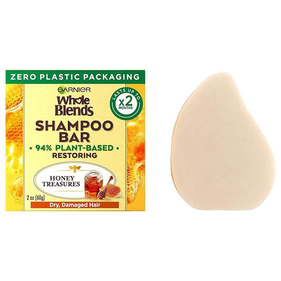 <p>The <span>Garnier Whole Blends Restoring Shampoo Bar for Dry, Damaged Hair</span> ($7) features a restorative formula that uses honey and beeswax to help protect the hair against damage and breakage during the cleansing process.</p>
