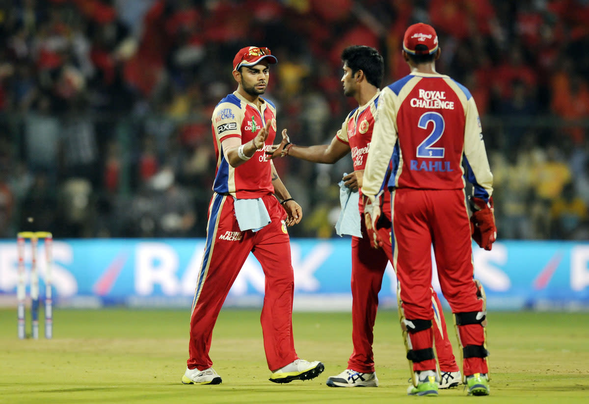 Virat Kohli captain of Royal Challengers Bangalore celebrates the wicket of Dwayne Bravo of Chennai Super Kings during match 70 of the Pepsi Indian Premier League between The Royal Challengers Bangalore and The Chennai Superkings held at the M. Chinnaswamy Stadium, Bengaluru  on the 18th May 2013. (BCCI)
