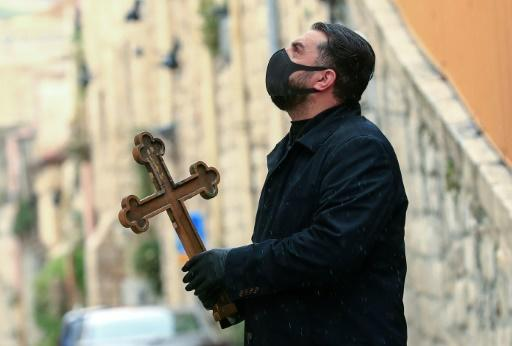 Easter mass is to be broadcast live from the Church of the Holy Sepulchre on Sunday but just six monks will actually be present because of social distancing regulations