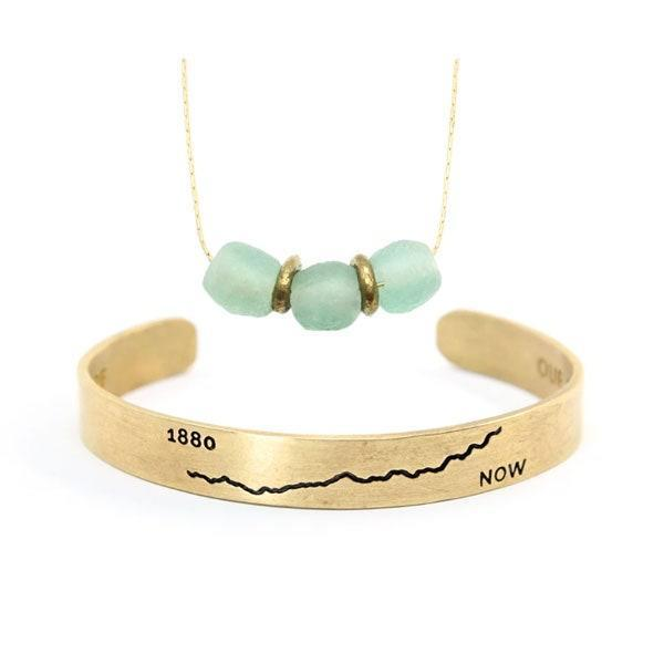 """$71, Bird and Stone. <a href=""""https://birdandstone.com/collections/climate/products/climate-cuff-and-upcycled-love-necklace-set"""" rel=""""nofollow noopener"""" target=""""_blank"""" data-ylk=""""slk:Get it now!"""" class=""""link rapid-noclick-resp"""">Get it now!</a>"""