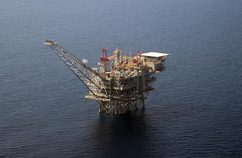 An aerial view from July 30, 2015 of the Tamar Israeli gas-drill platform in the eastern Mediterranean Sea where the scramble for resources is seeing tensions flare between regional rivals