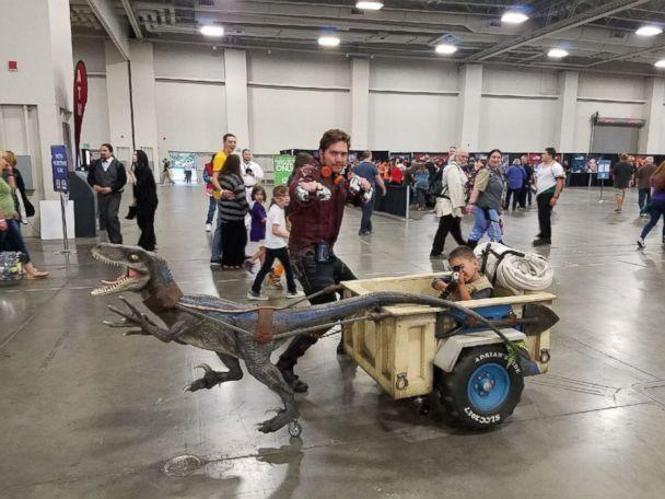 PHOTO: Adrian Paz, 8, of Draper, Utah, is obsessed with 'Jurassic World' and wanted to transform his chair into a dinosaur.  (Courtesy Magic Wheelchair)