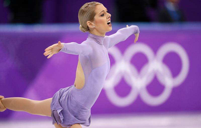 American Alexa Scimeca-Knierim in the pair's free skating competition Thursday at the Winter Olympics in Pyeongchang, South Korea.
