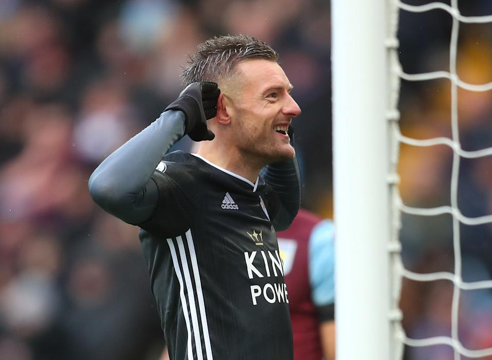 BIRMINGHAM, ENGLAND - DECEMBER 08: Jamie Vardy of Leicester City celebrates after scoring his team's first goal during the Premier League match between Aston Villa and Leicester City at Villa Park on December 08, 2019 in Birmingham, United Kingdom. (Photo by Catherine Ivill/Getty Images)