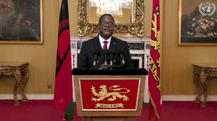 In this image made from UNTV video, Lazarus Chakwera, President of Malawi, speaks in a pre-recorded message which was played during the U.N. General Assembly's special session to discuss the response to COVID-19 and the best path to recovery from the pandemic, Thursday, Dec. 3, 2020, at U.N. headquarters, in New York. (UNTV via AP)