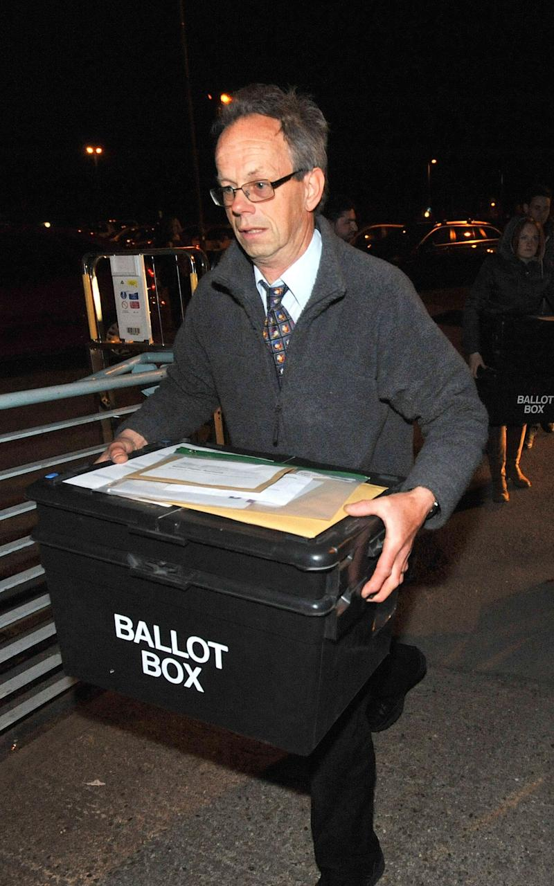 Election staff arrive with ballot papers for the local election count at Riverside Ice & Leisure Centre in Chelmsford, Essex - Credit: PA