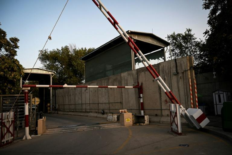 The entrance gate of the green zone in Kabul has been abandoned as the Taliban reached the Afghan capital