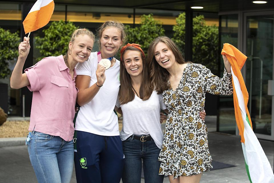 Bronze medallist Eimear Lambe with her sisters Claire, Aideen and Sinead at Dublin Airport (Damien Eagers/PA) (PA Media)