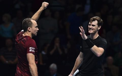 <span>Murray and his doubles partnerBruno Soares at last year's ATPWorld Tour Finals </span> <span>Credit: Getty Images </span>
