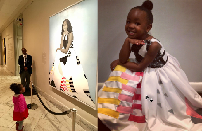 Girl obsessed with Michelle Obama's portrait dresses as her for Halloween