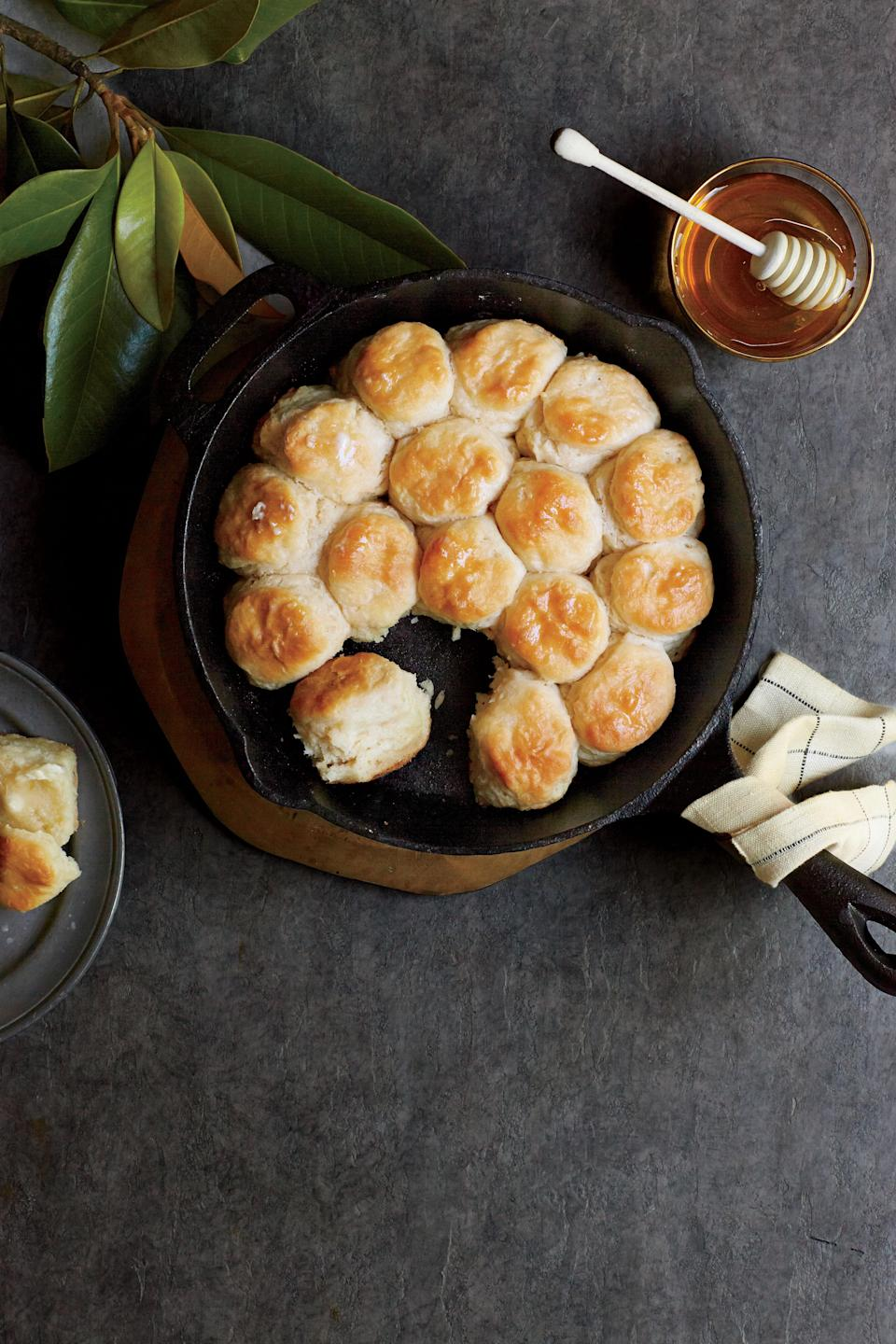 """<p><b>Recipe: <a href=""""http://www.myrecipes.com/recipe/angel-biscuits-50400000138555/"""" rel=""""nofollow noopener"""" target=""""_blank"""" data-ylk=""""slk:Angel Biscuits"""" class=""""link rapid-noclick-resp"""">Angel Biscuits</a></b></p> <p>Nestle these yeast biscuits snug together in the pan and they'll rise even higher when baked. You don't have to use all the dough at once—refrigerate in an airtight container up to 5 days.</p>"""