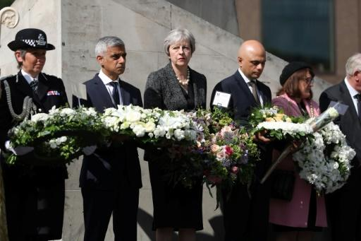 London Mayor Sadiq Khan, Prime Minister Theresa May and Home Secretary Sajid Javid laid floral tributes during the commemorations
