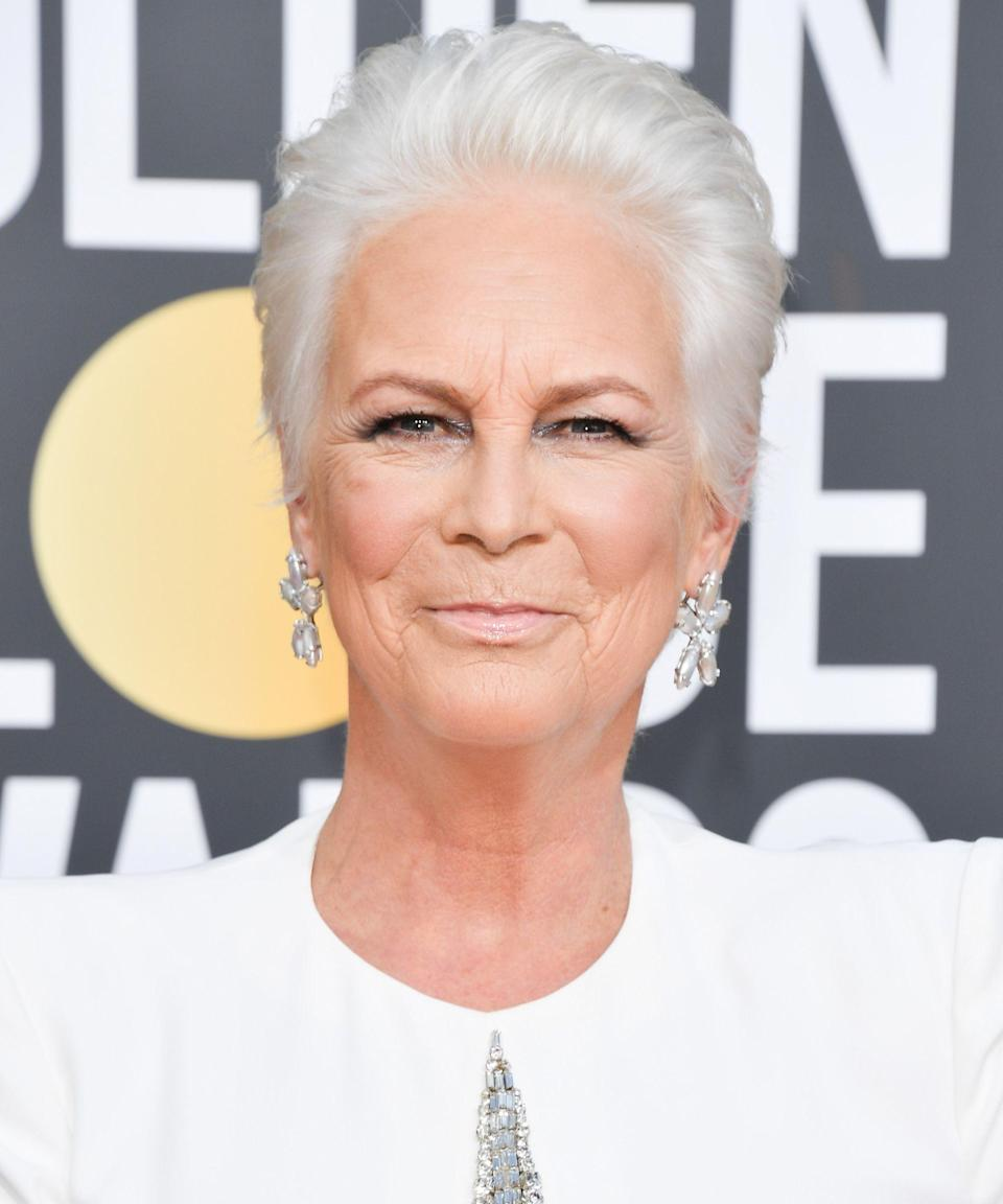 """<p>Jamie Lee Curtis took monochromatic beauty to the next level when she showed up to the Golden Globes with her hair dyed a wintery white shade to match her red-carpet gown. Previously, the star already had a gorgeous salt-and-pepper style, but this snowy color is new for 2019.</p><span class=""""copyright"""">Photo: George Pimentel/WireImage.</span>"""