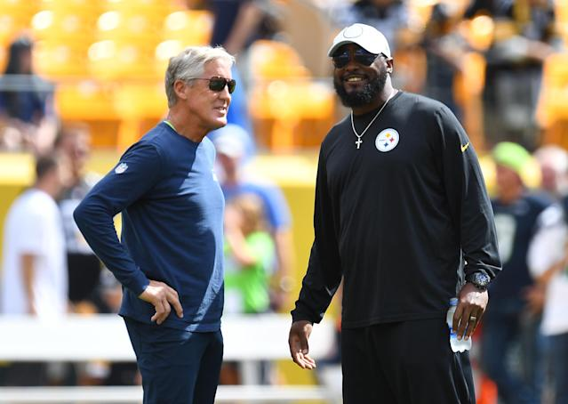 Seattle's Pete Carroll (left) and Pittsburgh's Mike Tomlin have done two of the best NFL coaching jobs this season. (Photo by Joe Sargent/Getty Images)