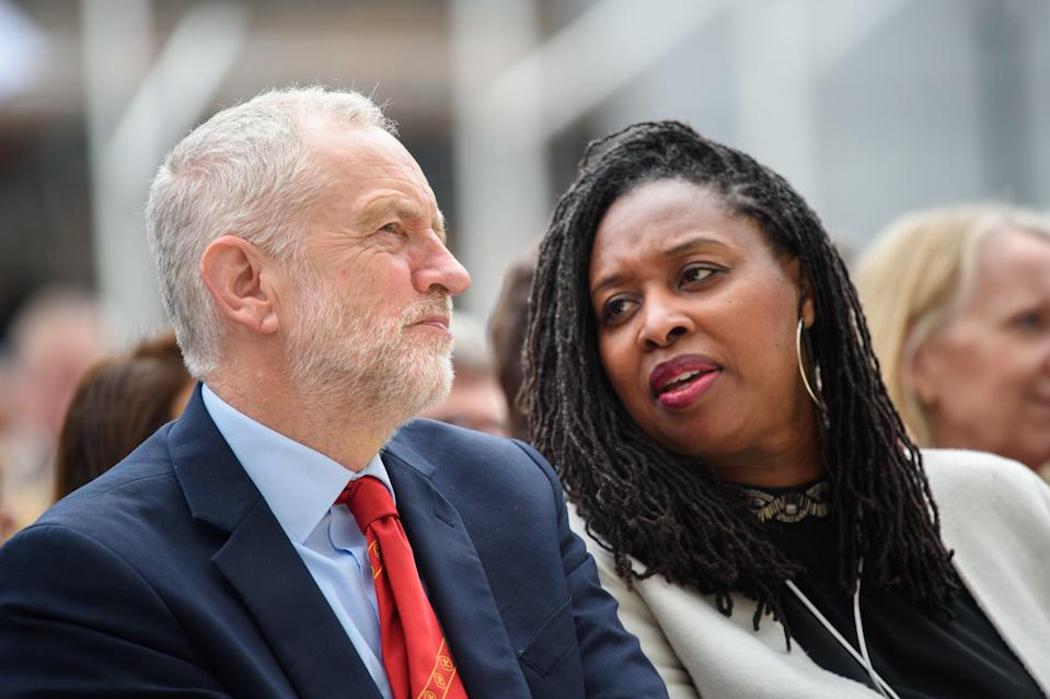 Labour Leader Jeremy Corbyn and Dawn Butler MP at the unveiling of the statue of suffragist leader Millicent Fawcett, in Parliament Square, London. The statue, by artist Gillian Wearing, is the first statue of a woman to stand in the square, and marks 100 years since the first women won the right to vote. Picture date: Tuesday April 24th, 2018. Photo credit should read: Matt Crossick/ EMPICS Entertainment.