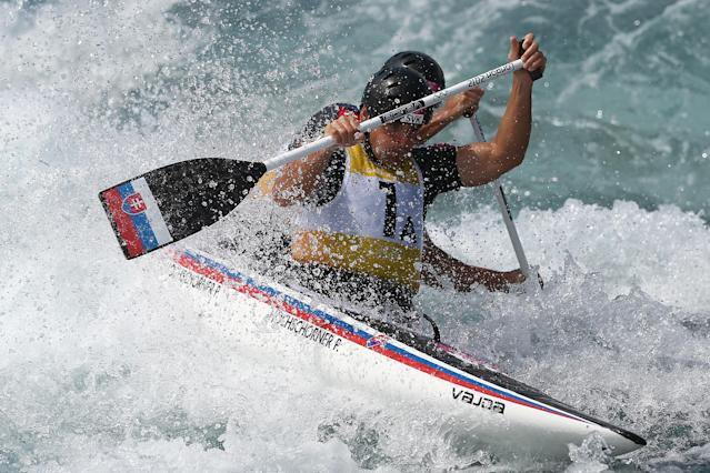LONDON, ENGLAND - JULY 30: Peter Hochschorner and Pavol Hochschorner of Slovakia compete in the Men's Canoe Double (C2) Slalom heats on Day 3 of the London 2012 Olympic Games at Lee Valley White Water Centre on July 30, 2012 in London, England. (Photo by Quinn Rooney/Getty Images)