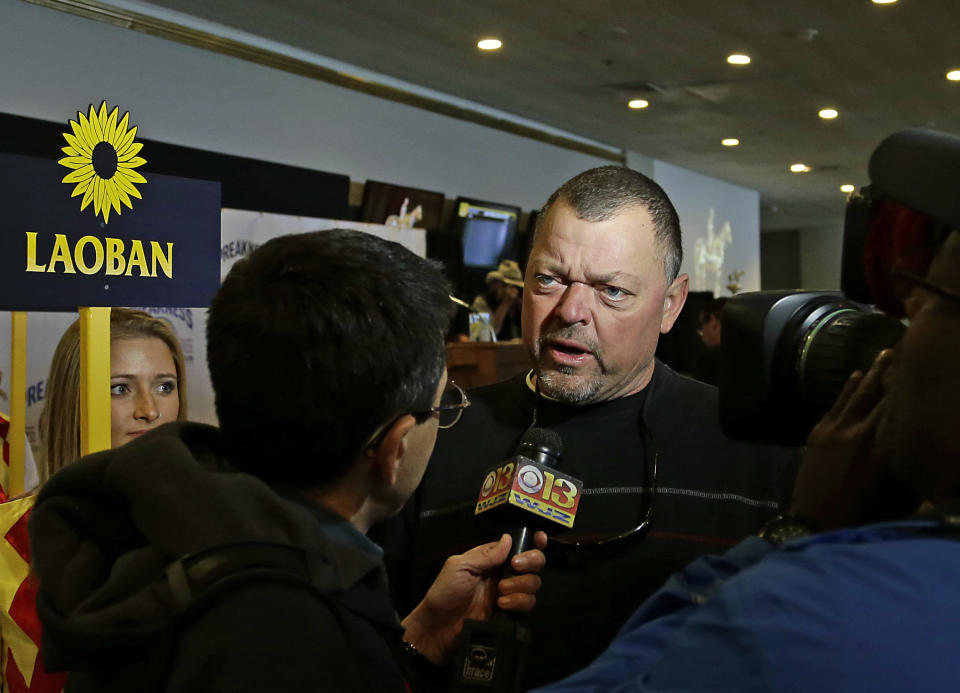 Eric Guillot talks about his colt Laoban following the post position draw for the 141st Preakness Stakes at Pimlico Race Course Wednesday, May 18, 2016 in Baltimore. Laoban will start from post position No. 8 on Saturday, May 21. (AP Photo/Garry Jones)