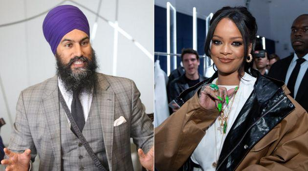 NDP Leader Jagmeet Singh, left, now counts singer Rihanna as an Instagram follower.