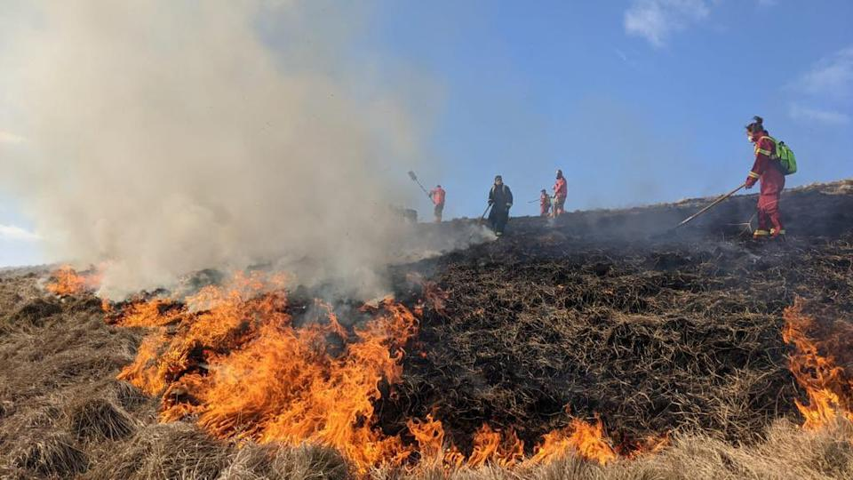 The fire broke out on moorelands near Castletown. (Derbyshire Fire & Rescue Service)