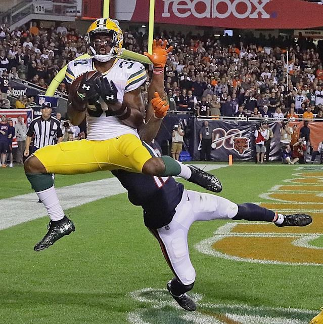 Adrian Amos #31 of the Green Bay Packers intercepts a pass in the end zone over Allen Robinson #12 of the Chicago Bears at Soldier Field on September 05, 2019 in Chicago, Illinois. The Packers defeated the Bears 10-3. (Photo by Jonathan Daniel/Getty Images)