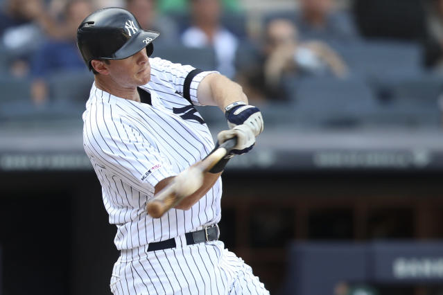 New York Yankees' DJ LeMahieu hits the game winning walk off home run in the 11th inning of a baseball game against the Oakland Athletics, Saturday, Aug. 31, 2019, in New York. (AP Photo/Mary Altaffer)