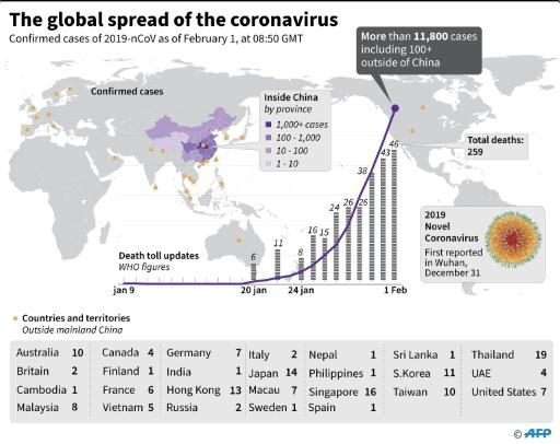 Countries or territories with confirmed cases of the 2019 Novel Coronavirus as of February 1 at 08:30 GMT