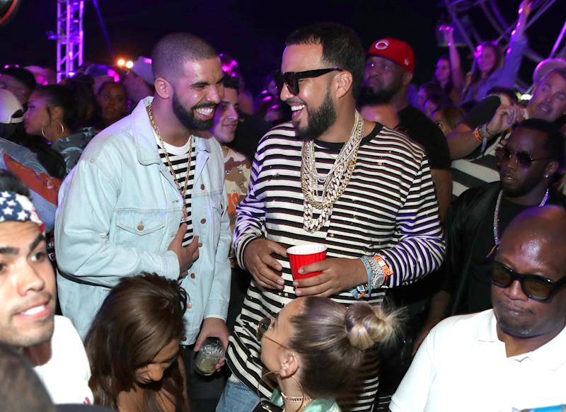 Drake and French Montana attend The Levi's Brand Presents NEON CARNIVAL with Tequila Don Julio on April 15, 2017 in Thermal, California. (Photo by Jonathan Leibson/WireImage)