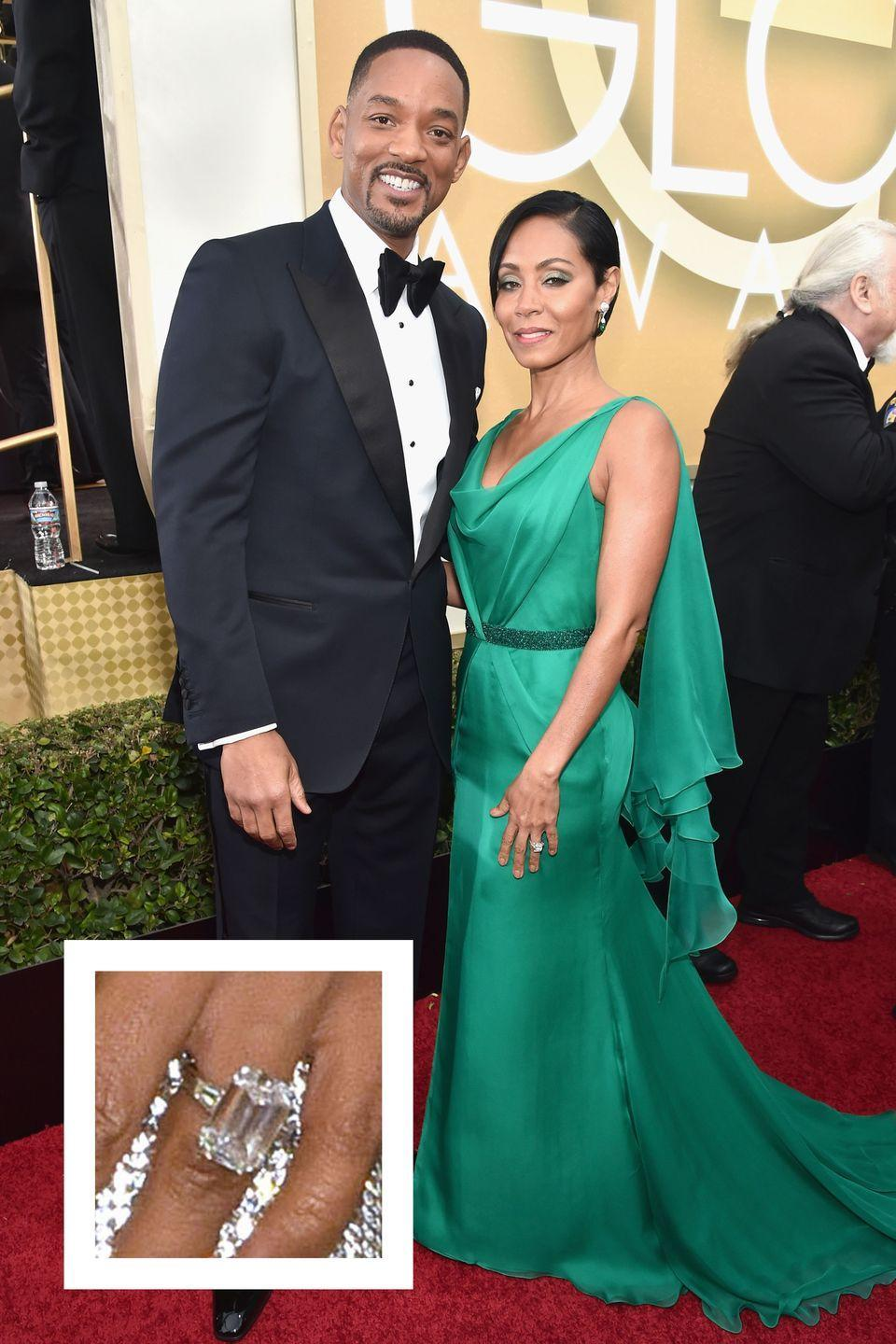"""<p>Will Smith proposed to Jada in November 1997 with a jaw-dropping emerald-cut diamond engagement ring. The center stone is estimate to be over 12 carats in size, and it's surrounded by two baguette-cut stones, <a href=""""http://www.vogue.co.uk/gallery/celebrity-engagement-rings-pictures"""" rel=""""nofollow noopener"""" target=""""_blank"""" data-ylk=""""slk:Vogue UK reports"""" class=""""link rapid-noclick-resp""""><em>Vogue UK</em> reports</a>. The ring is estimated to be worth $250,000, <a href=""""http://www.instyle.com/celebrity/star-couples/celebrity-engagement-rings"""" rel=""""nofollow noopener"""" target=""""_blank"""" data-ylk=""""slk:InStyle reports."""" class=""""link rapid-noclick-resp""""><em>InStyle</em> reports.</a> </p>"""