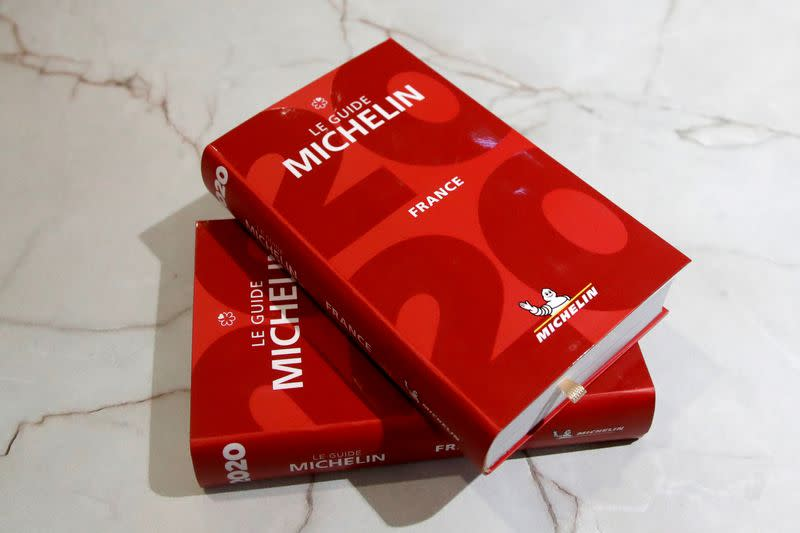 FILE PHOTO: Copies of the new 2020 annual Michelin restaurant guide are seen in this picture illustration