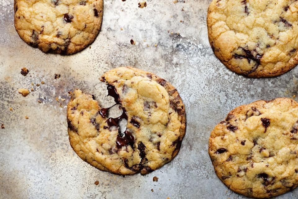 """We went on a quest for the ultimate chocolate chip cookie recipe. This is the one you want to make. <a href=""""https://www.epicurious.com/recipes/food/views/our-favorite-chocolate-chip-cookies?mbid=synd_yahoo_rss"""" rel=""""nofollow noopener"""" target=""""_blank"""" data-ylk=""""slk:See recipe."""" class=""""link rapid-noclick-resp"""">See recipe.</a>"""