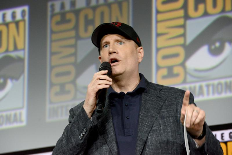 SAN DIEGO, CALIFORNIA - JULY 20: Kevin Feige speak at the Marvel Studios Panel during 2019 Comic-Con International at San Diego Convention Center on July 20, 2019 in San Diego, California. (Photo by Albert L. Ortega/Getty Images)