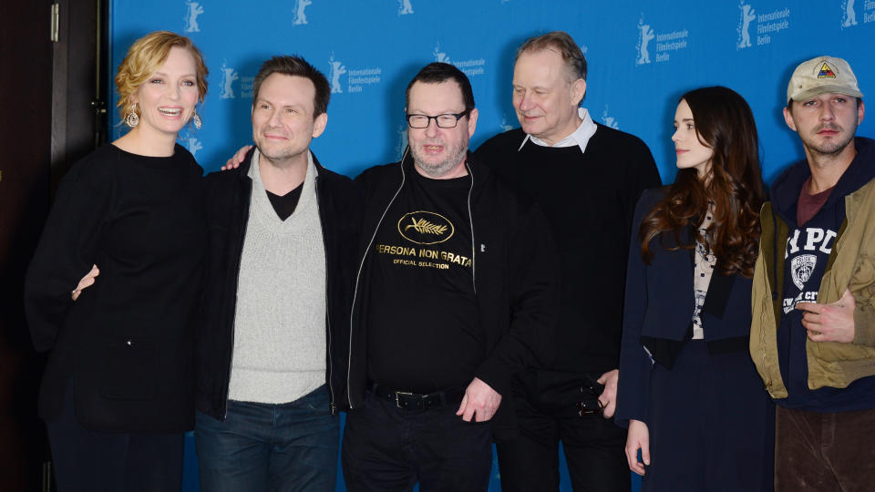Uma Thurman, Christian Slater, Lars von Trier, Stellan Skarsgård, Stacy Martin and Shia LaBeouf attend the 'Nymphomaniac' photocall during 64th Berlinale International Film Festival in 2014. (Photo by Dominique Charriau/WireImage)