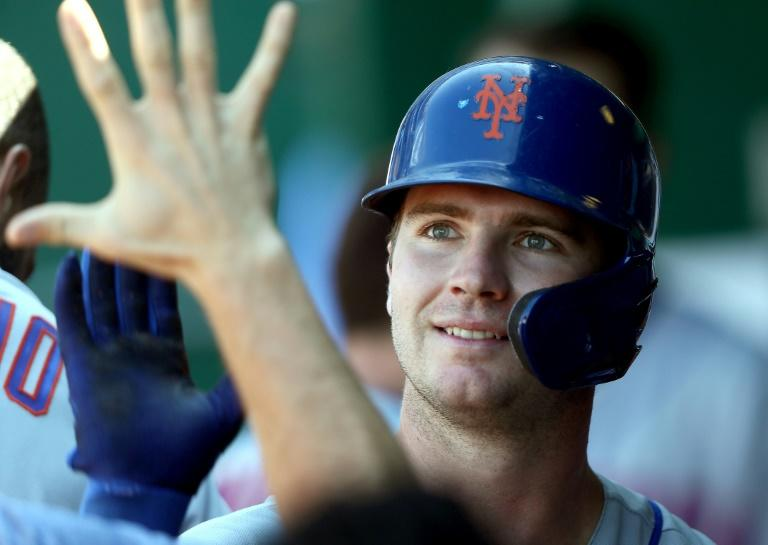Record-setter: New York's Pete Alonso hit his 40th home run of the season to set a National League rookie record in the Mets' win over the Kansas City Royals