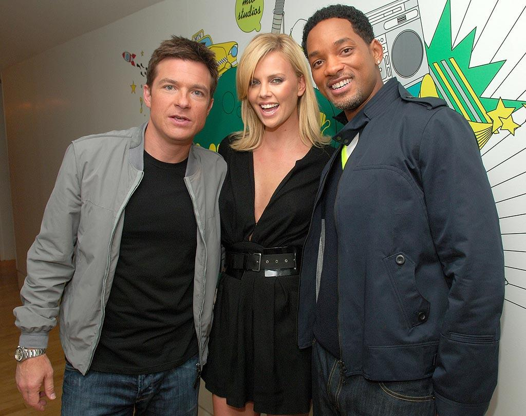 "Jason Bateman, Charlize Theron, and Will Smith stop by ""TRL"" to promote ""Hancock."" Will the superhero comedy be this summer's biggest blockbuster? Michael Loccisano/<a href=""http://www.filmmagic.com/"" target=""new"">FilmMagic.com</a> - June 24, 2008"
