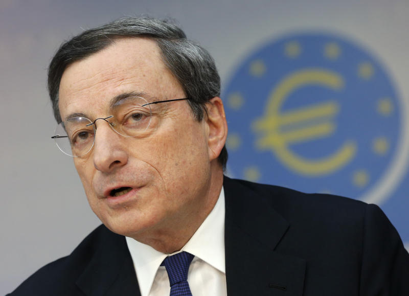 President of European Central Bank Mario Draghi speaks during a news conference in Frankfurt, Germany, Thursday, March 6, 2014, following a meeting of the ECB governing council. The European Central Bank has kept its main interest rate at a record low of 0.25 percent, holding off on more stimulus as economic indicators suggest the modest recovery is gaining strength. (AP Photo/Michael Probst)