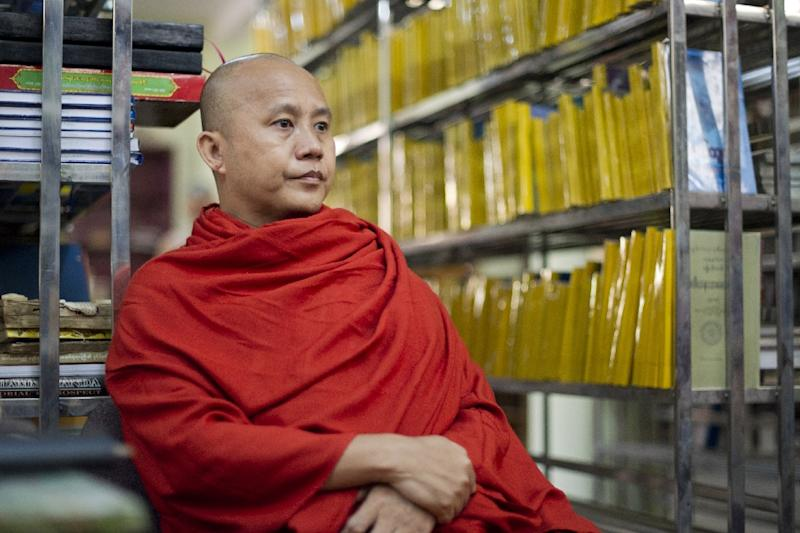 Myanmar monk Wirathu, whose anti-Muslim campaign has stoked religious tensions in the Buddhist-majority nation, is interviewed in a Mandalay monastery (AFP Photo/Ye Aung Thu)